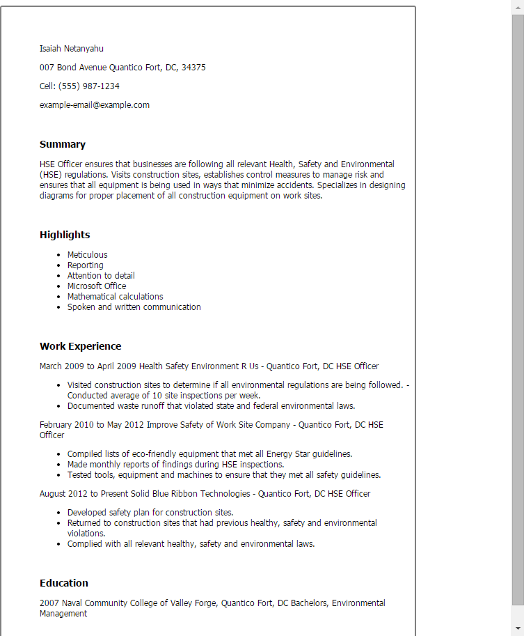 environmental health and safety resume examples