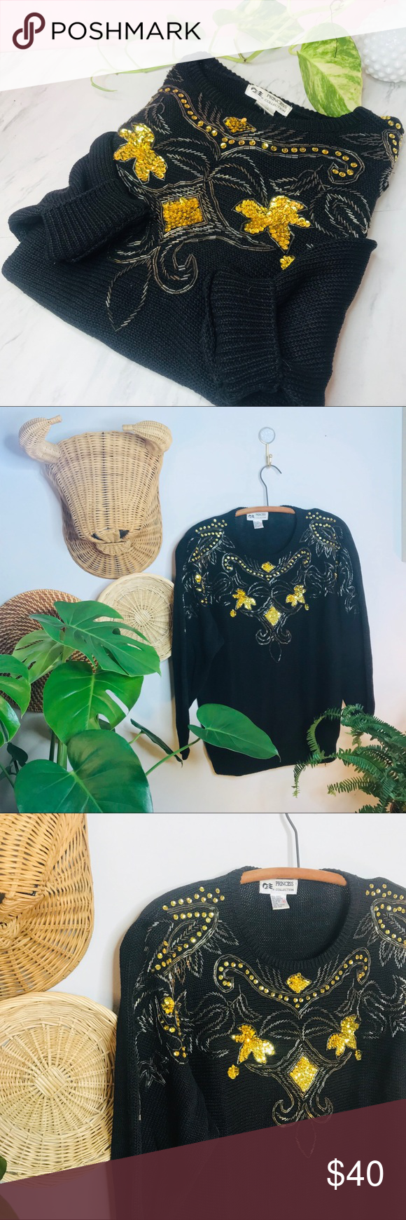 vtg retro 90s beaded funky oversized gold sweater •Vtg Retro 80s Gold Beaded Leaf Sweater  • Tags say Medium but would fit a small as oversized sw...