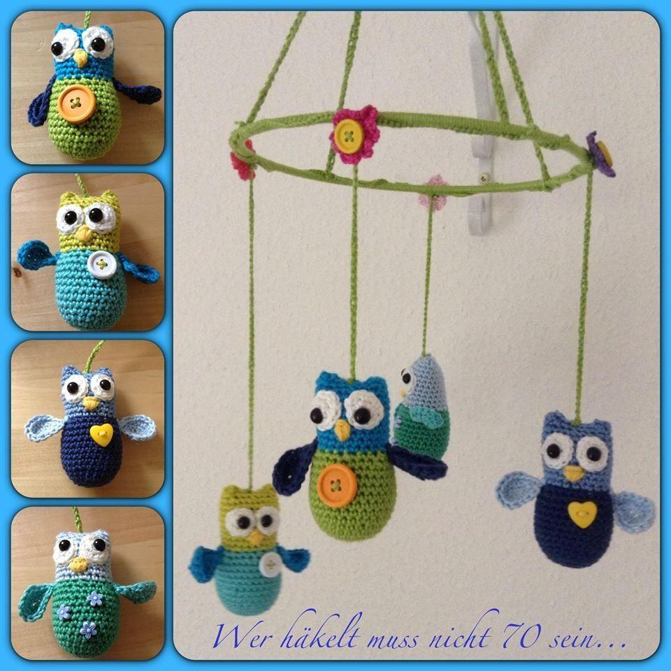 crocheted mobile with owls | Wer häkelt muss nicht 70 sein ...