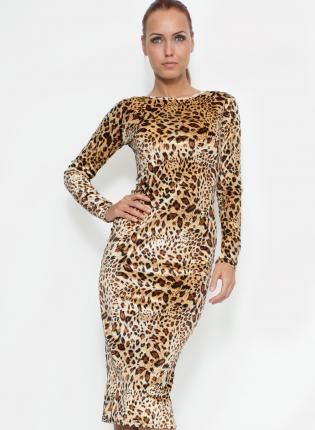 84e8a357af Leopard Print Long Sleeve Midi Dress with Boat Neck