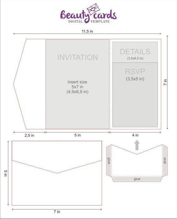 diy classic pocket wedding invitation template 5x7 tri. Black Bedroom Furniture Sets. Home Design Ideas