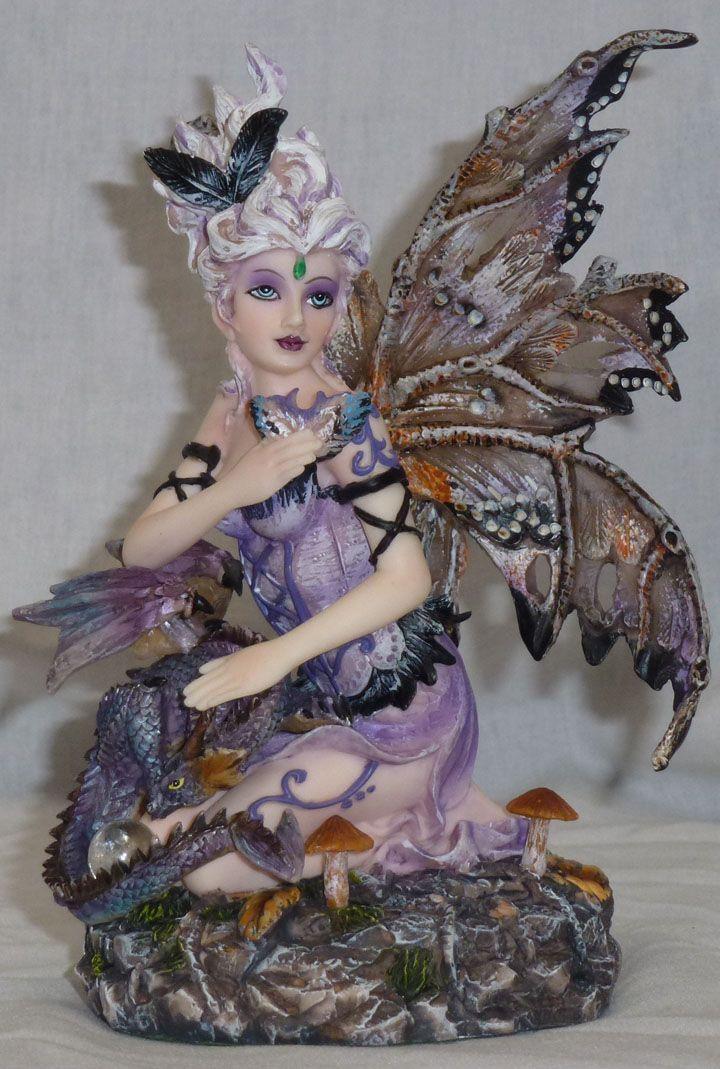 Dragon And Fairy Figurines Purple With Statue Figurine Ebay