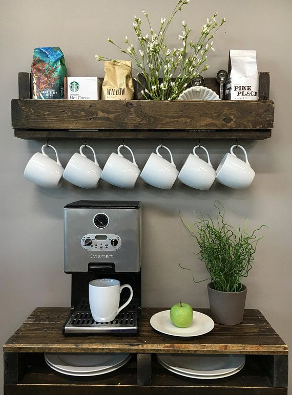 READY TO SHIP now. Shari Coffee Bar Cup Shelf with Hooks // Coffee Bar Beverage Caddy // Coffee Cup Display Shelf// Coffee Bar Shelf