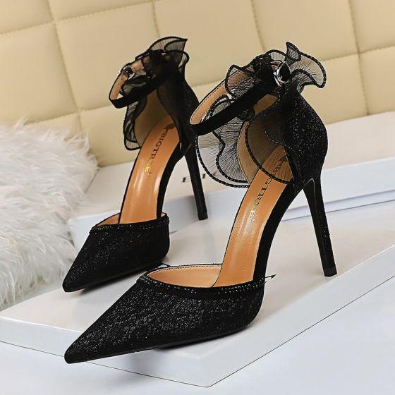 Uroczy Czarne Wieczorowe Z Koronki Buty Damskie 2020 Koronkowe Kwiat Z Paskiem 10 Cm Szpilki Szpiczaste Na Obcasie Stiletto Heels Pointed Toe Heels Lace Heels