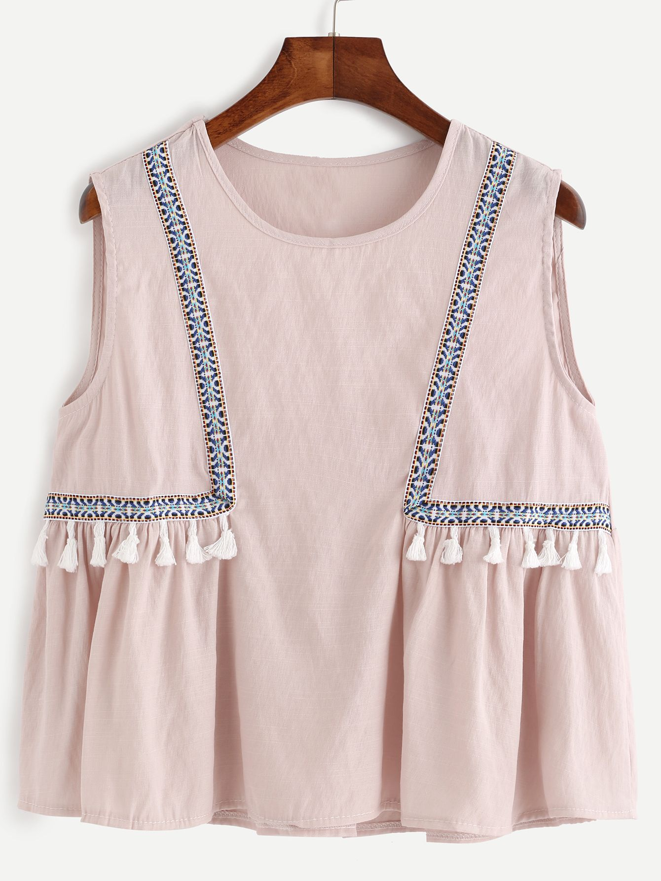 0fbc8230acc2e3 Pink Embroidered Tape Detail Tassel Trim Top