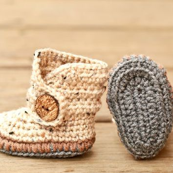 Crochet Baby Booties - Baby Moccasins - Earthy Brown and Natural Tweed Baby Shoes - Indian