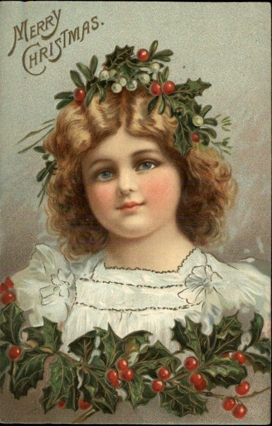 Vintage wreath postcards well! think