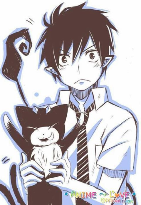 Rin Okumura and Kuro - Blue Exorcist