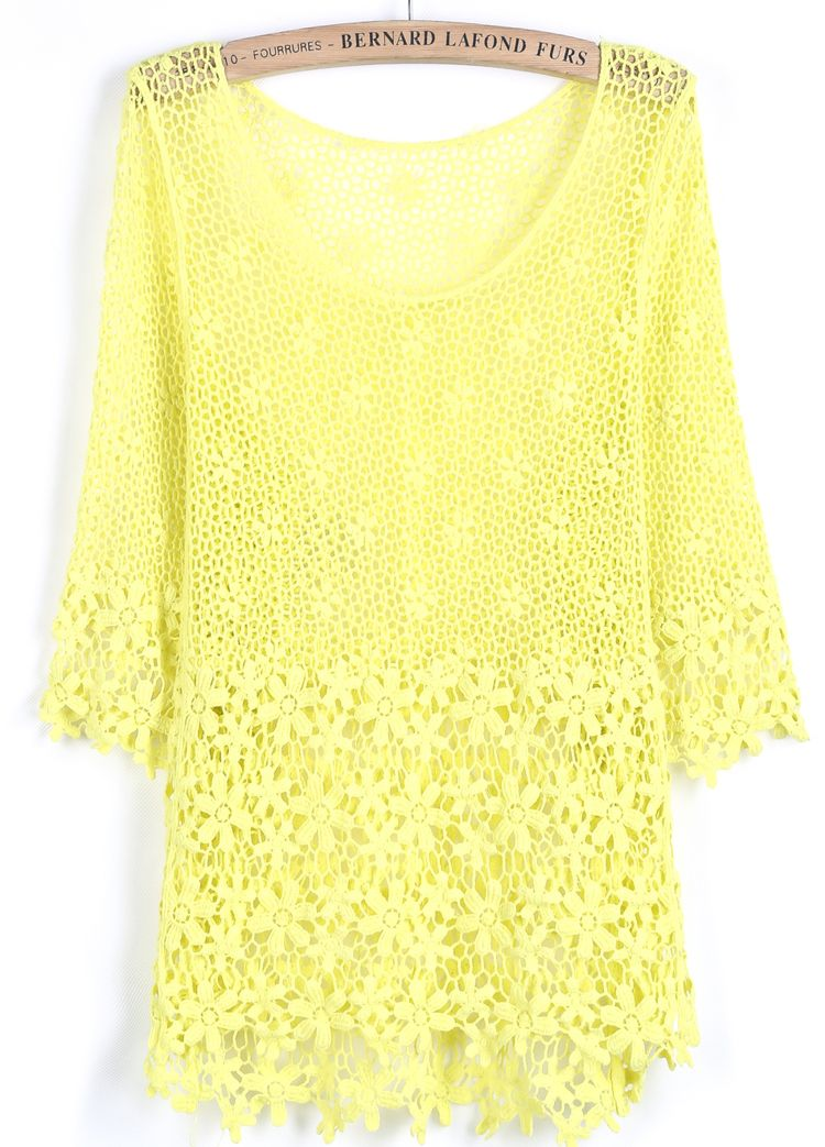 Yellow Half Sleeve Hollow Lace Blouse US$22.95