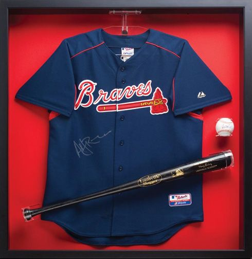 Custom Framed Baseball Jersey Bat And Ball Perfect For The Sports Fanatic In Your Life