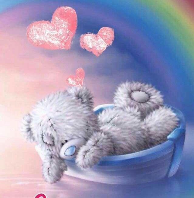 Картинка с мишкой и цветами доброй ночи, день