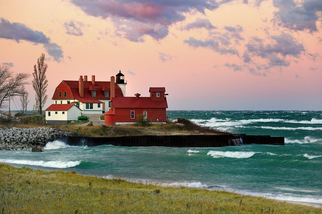"  ""October Dawn"" Point Betsie Lighthouse, Crystallia, Michigan  "