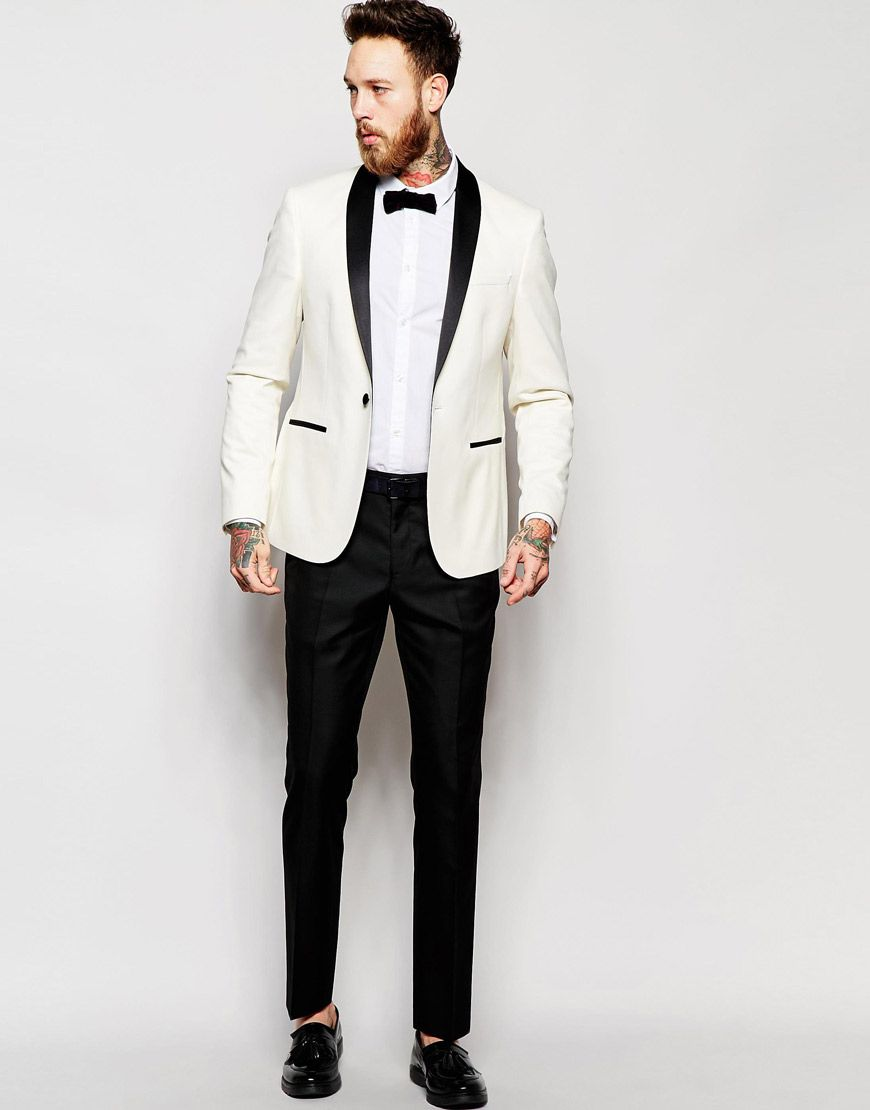 ASOS Slim Fit Tuxedo Suit White Jacket Black Trouser | The Black ...