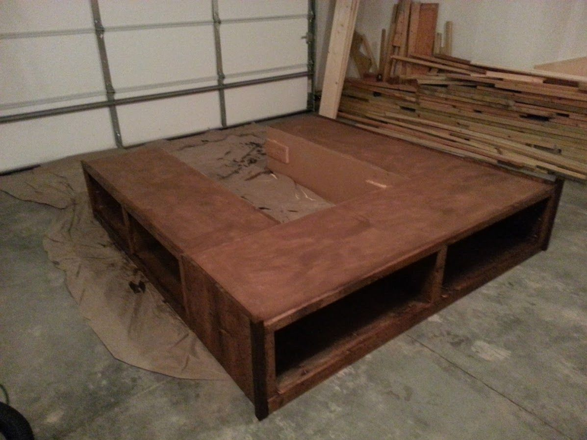 Our King Bed With Open Storage And Bolted Frame Do It Yourself
