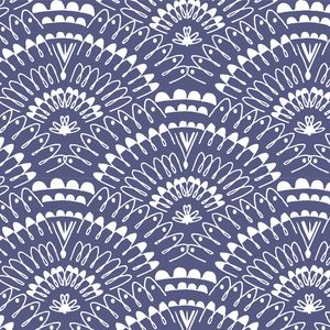 Fans in Indigo from Bengal fabric collection by Hawthorne Threads