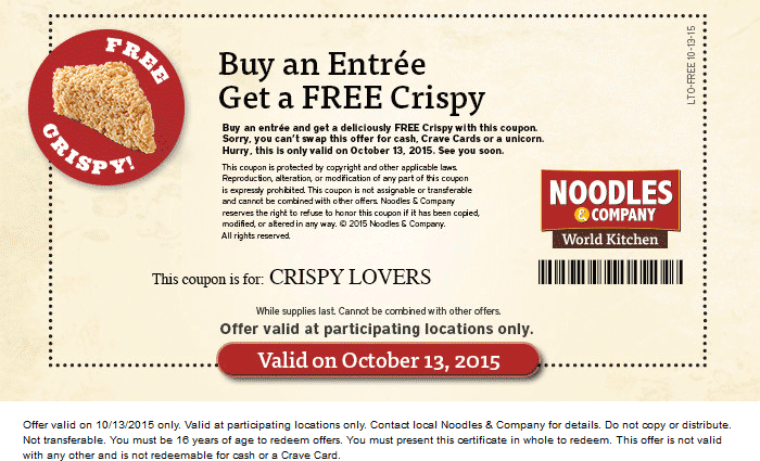 photo relating to Noodles and Company Printable Coupons identify Pinned Oct 12th: Absolutely free crispy with your entree #Tuesday