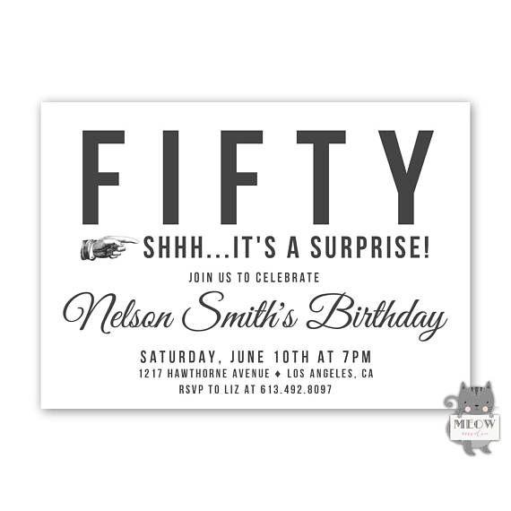 Mens Surprise Birthday Invitations, Surprise 50th Birthday