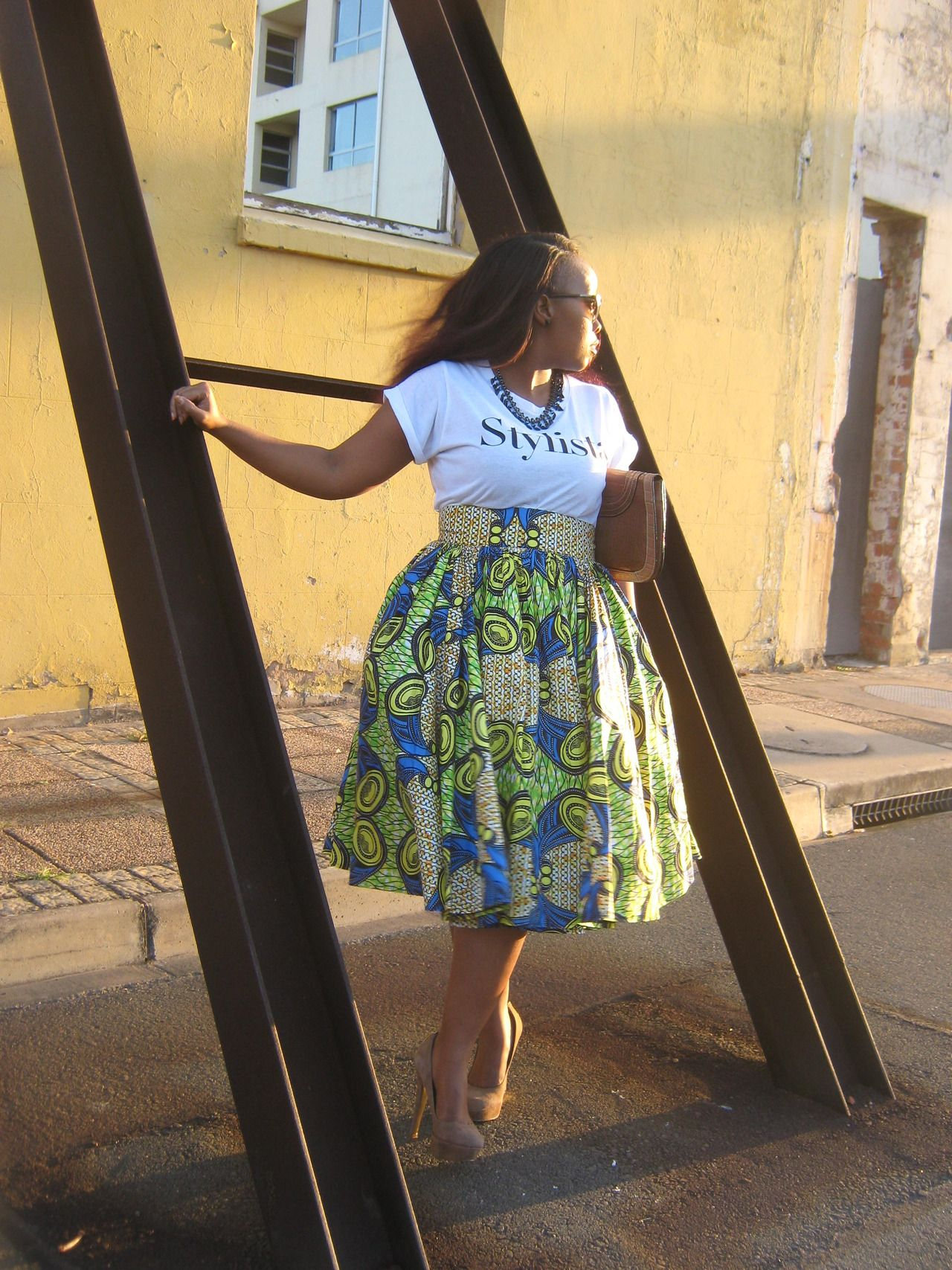blackfashion: Phumelele Nsele From KZN/Mandeni South Africa Wearing - Extreem Glamour Skirt By Zamo Nana Nsele, Mr Price - Tee, Sunglasses - Prada, Heels Aldo http://extreemglamour.blogspot.com/