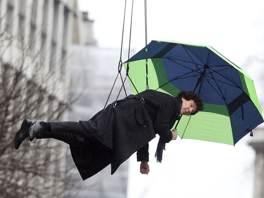 Actual Mary Poppins. Benedict Cumberbatch Photo - Benedict Cumberbatch Films A Stunt On The Set Of Sherlock Holmes