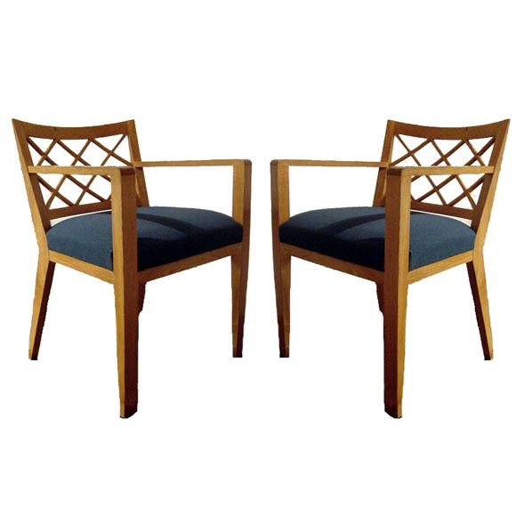 1930\u0027s pair of Jean Royere Oak chairs Modern Dining chair