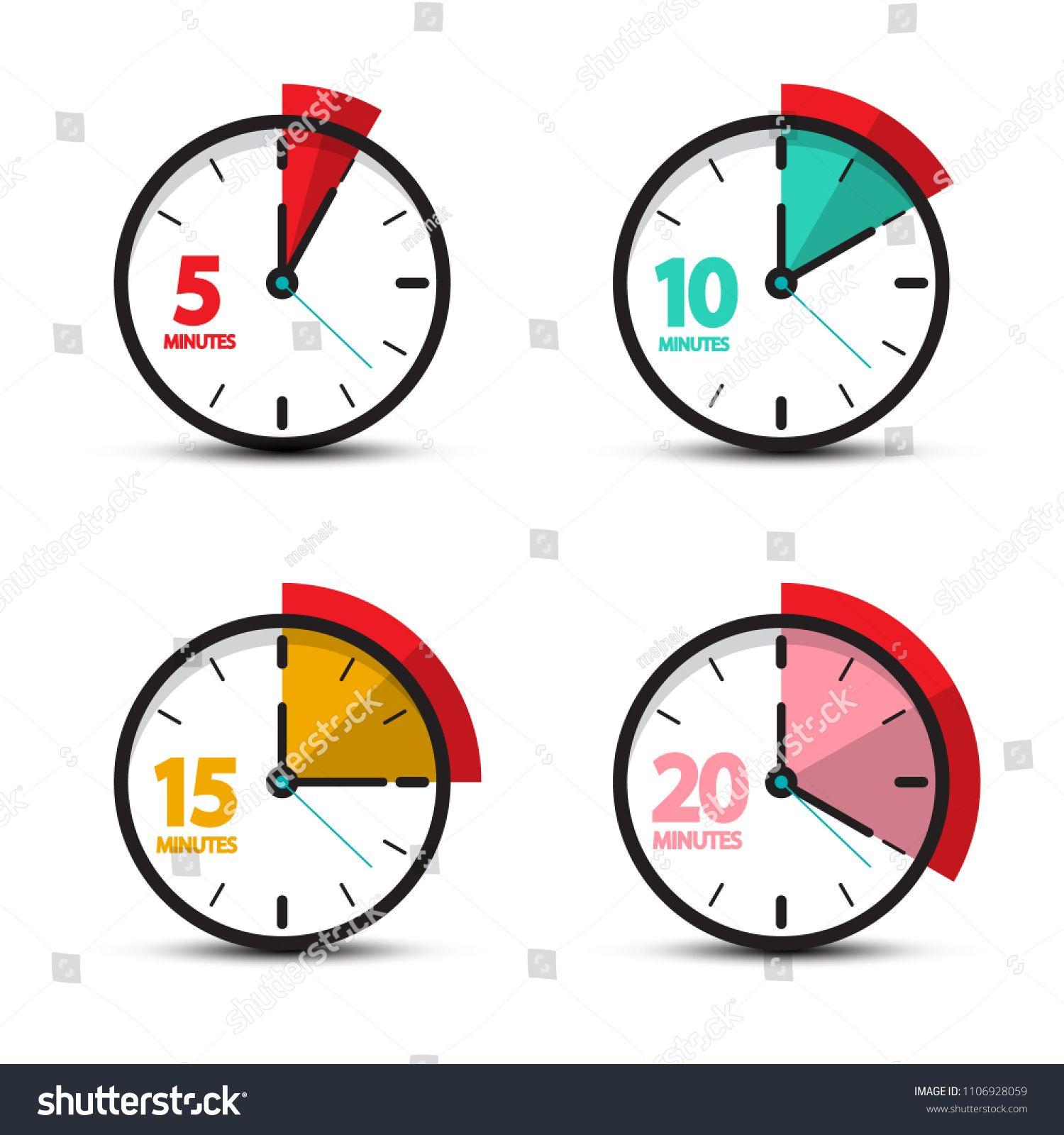 5 10 15 20 Minutes Analog Clock Icons Vector Time Symbol Minutes Analog Time Symbol Clock Icon Digital Illustration Tutorial Analog Clock