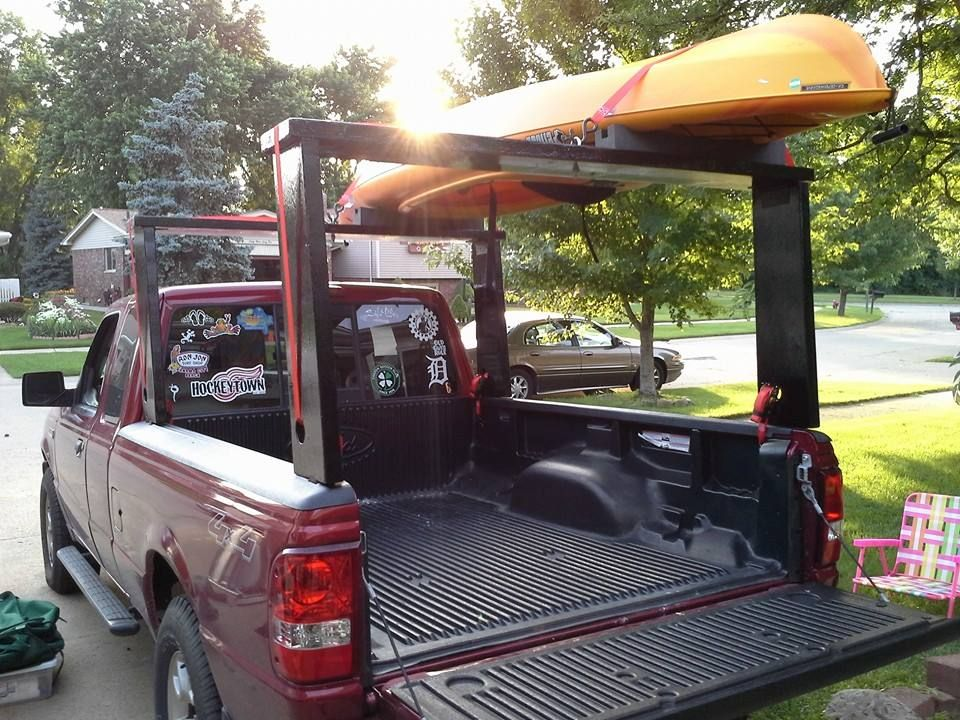 New Diy Kayak Rack Front And Rear Sides Are Hinged To Top So It Fold Up Easy Sides Go Into Stake Pockets And Ti Kayak Rack Kayak Rack For Truck Kayak