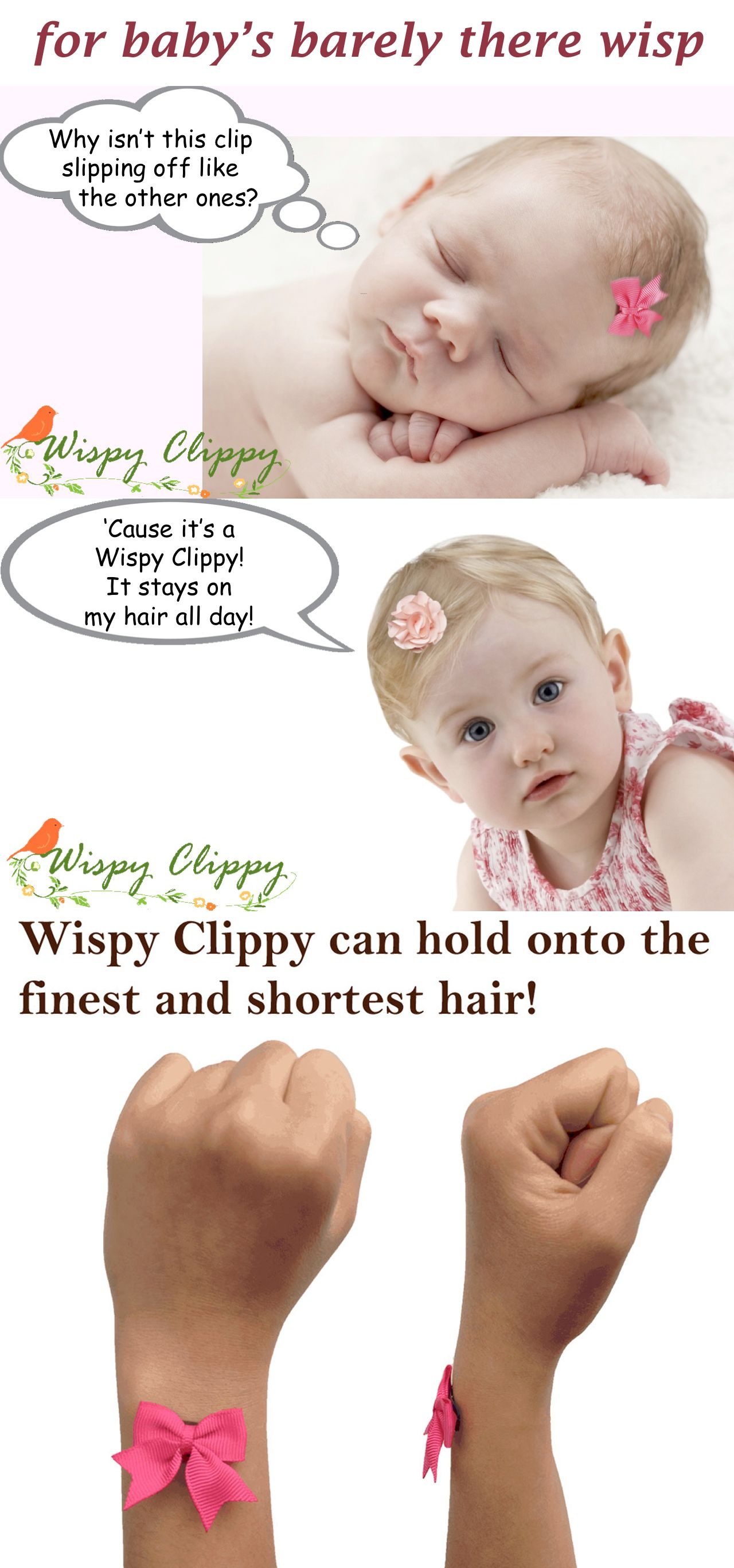 No hair clip stays on your baby barely there wispy hair  No problem! Wispy  Clippy will do the job! The best no-slip hair clip for fine hair! 865595c53f1