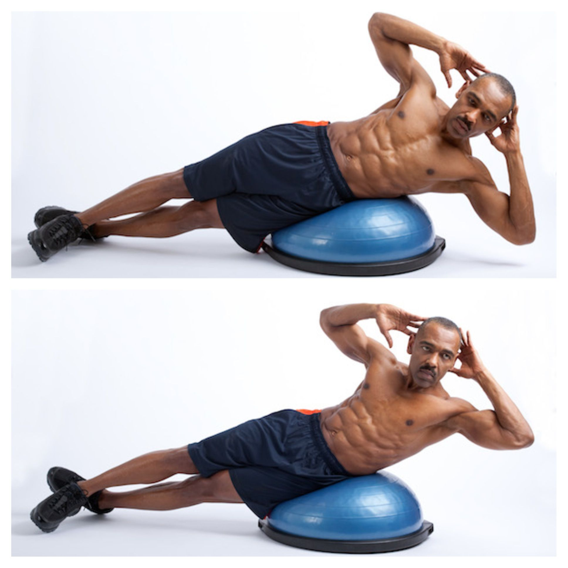 Luckie s Exercise of Week Bosu Oblique Crunch BENEFITS Tones
