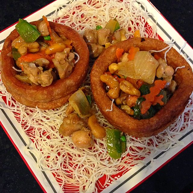 Deep Fried Yam Ring Served With Stir Fry Chicken And