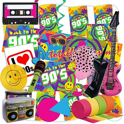 90 39 s large decoration pack anniversaire pinterest for Decoration annee 90