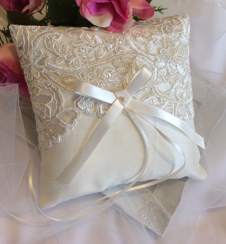 ivory ring pillow, lace ring pillow, wedding ring pillow, silk ring