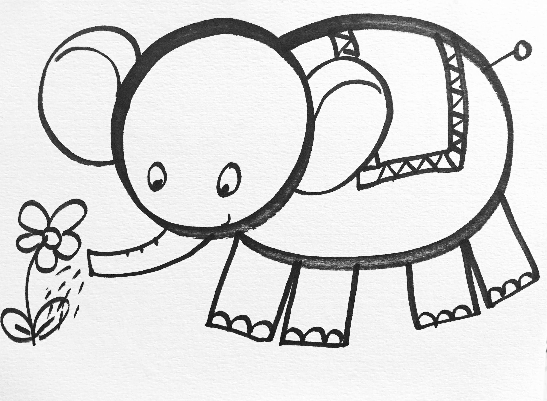 Uncategorized Hard Drawings For Kids how to draw little elephant for kids art pinterest kids