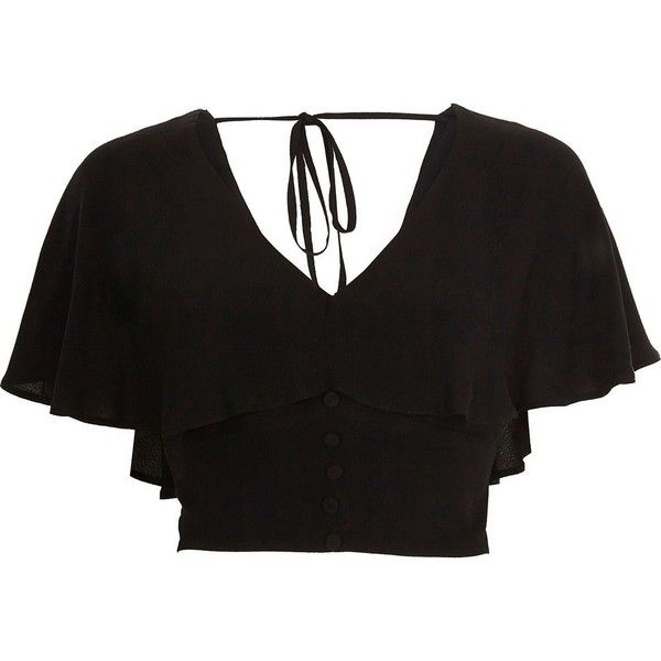 2a56cc5c2e1 River Island Black cape tie back crop top ($56) ❤ liked on Polyvore  featuring tops, black, crop tops / bralets, women, bralette crop top, tie  back crop top ...
