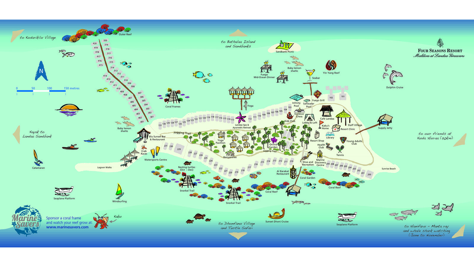Never Get Lost At Four Seasons Resort Maldives Landaa Giraavaru Again Check Out This Fun Map Displaying All There Is To Do And Where
