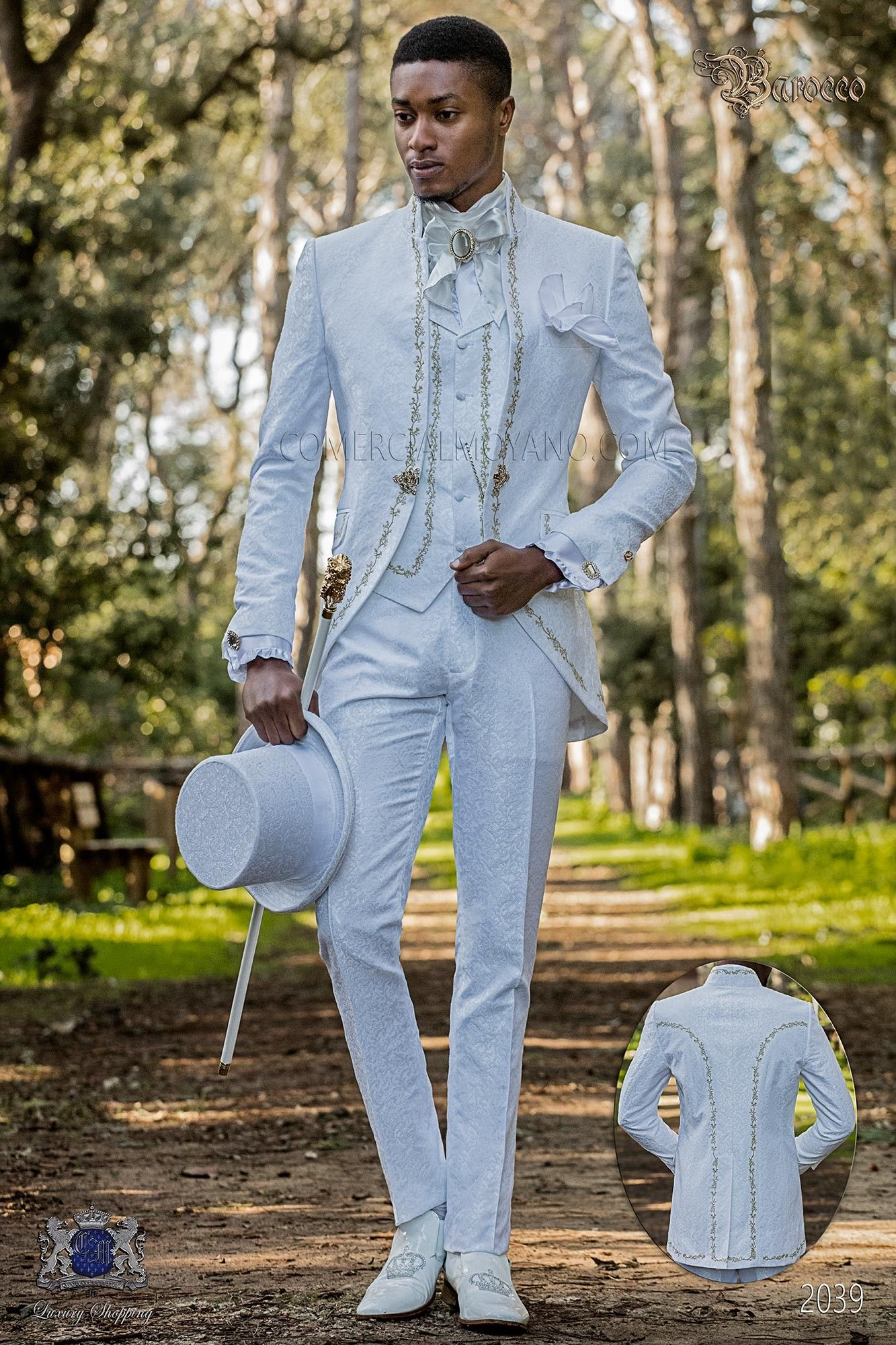 Baroque Groom Suit Made Of White Jacquard Fabric This Vintage Costume Is A Mao Collar Frock Coat W Wedding Suits Men Wedding Suits White Wedding Suits For Men