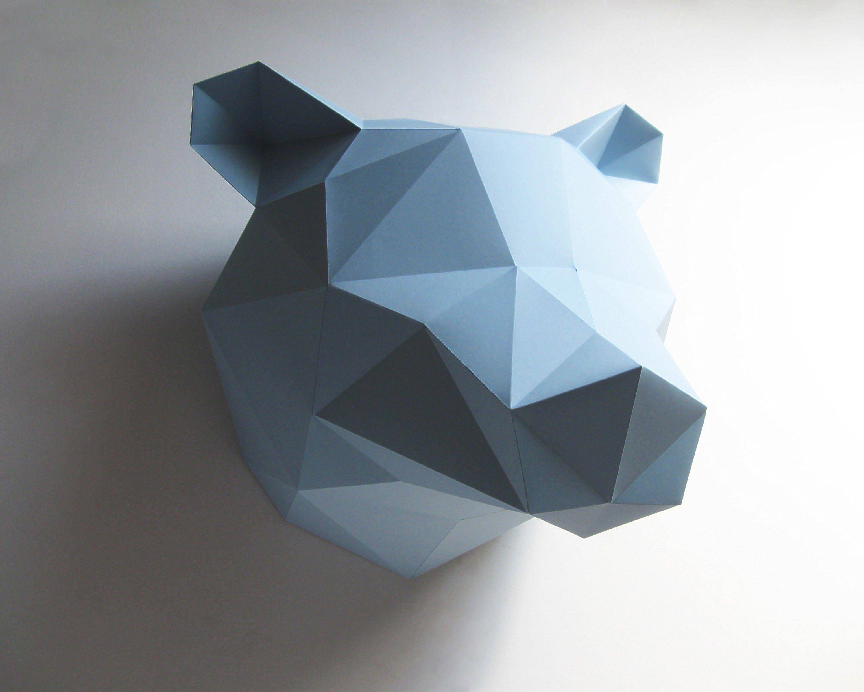 Trophée Origami En Papier Ours   Bleu