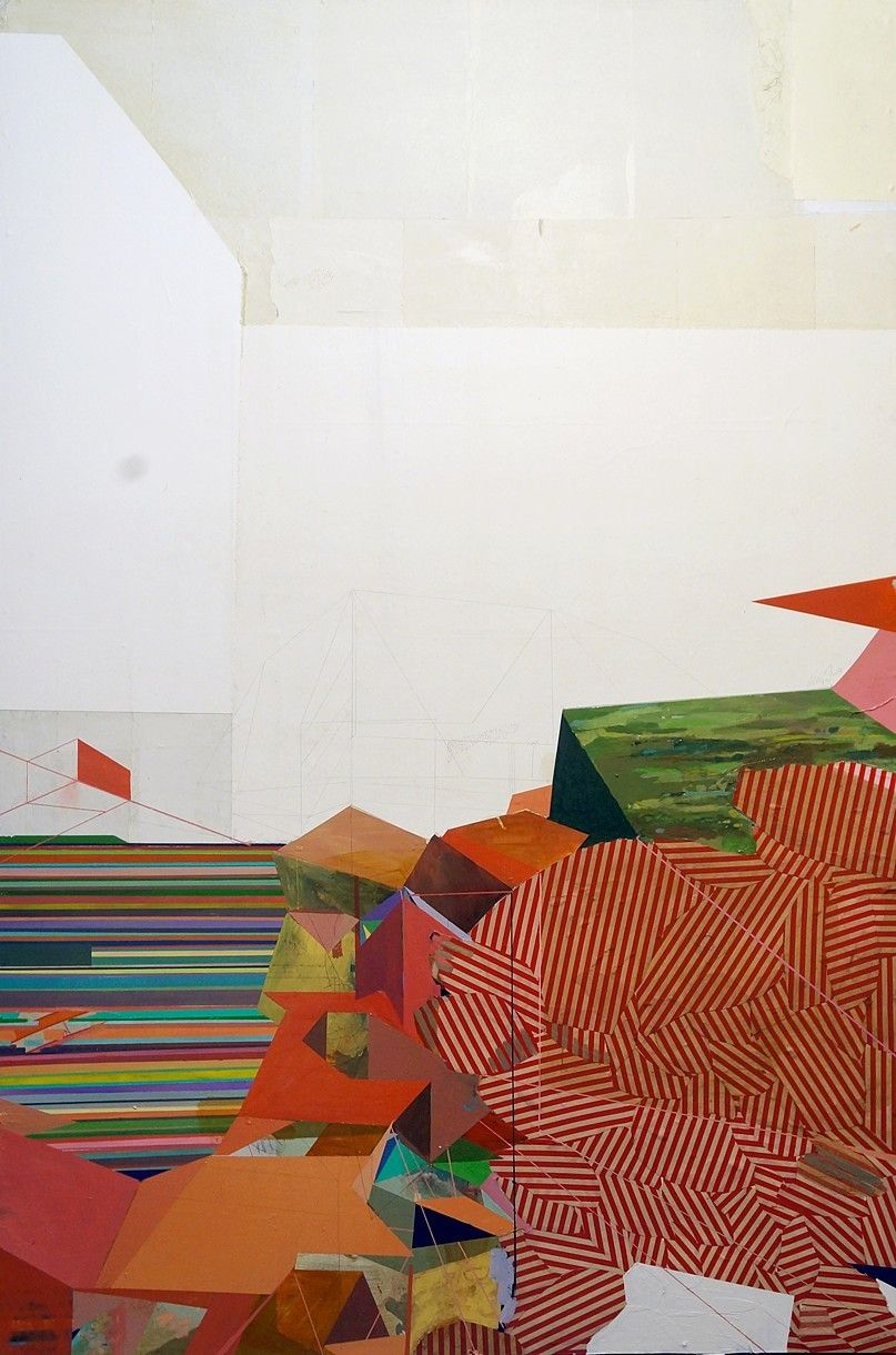"""Stills V (FSU) by Andy Curlowe, 2012, acrylic, pencil and collage on panel, 40"""" x 60"""""""