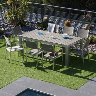 salon de jardin 8 places 1 table 200x100cm 8 fauteuils composite camano ermanno g - Salon De Jardin En Composite