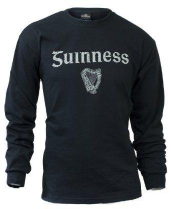 Guinness Gaelic Label Long Sleeve Tee Shirt Black