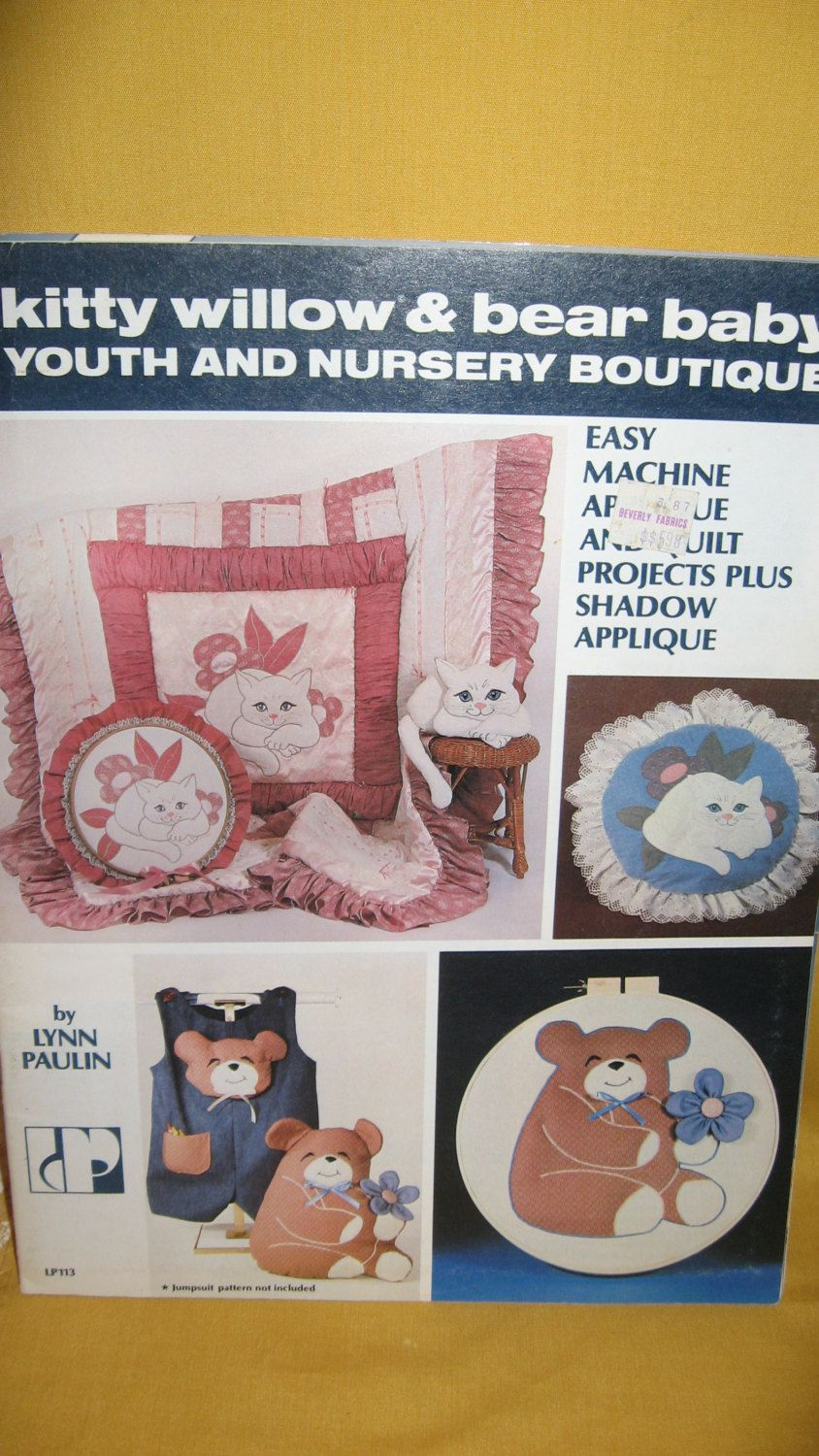 Appliques Vintage Craft Book Kitty Willow Quilting Iron On Transfers Machine