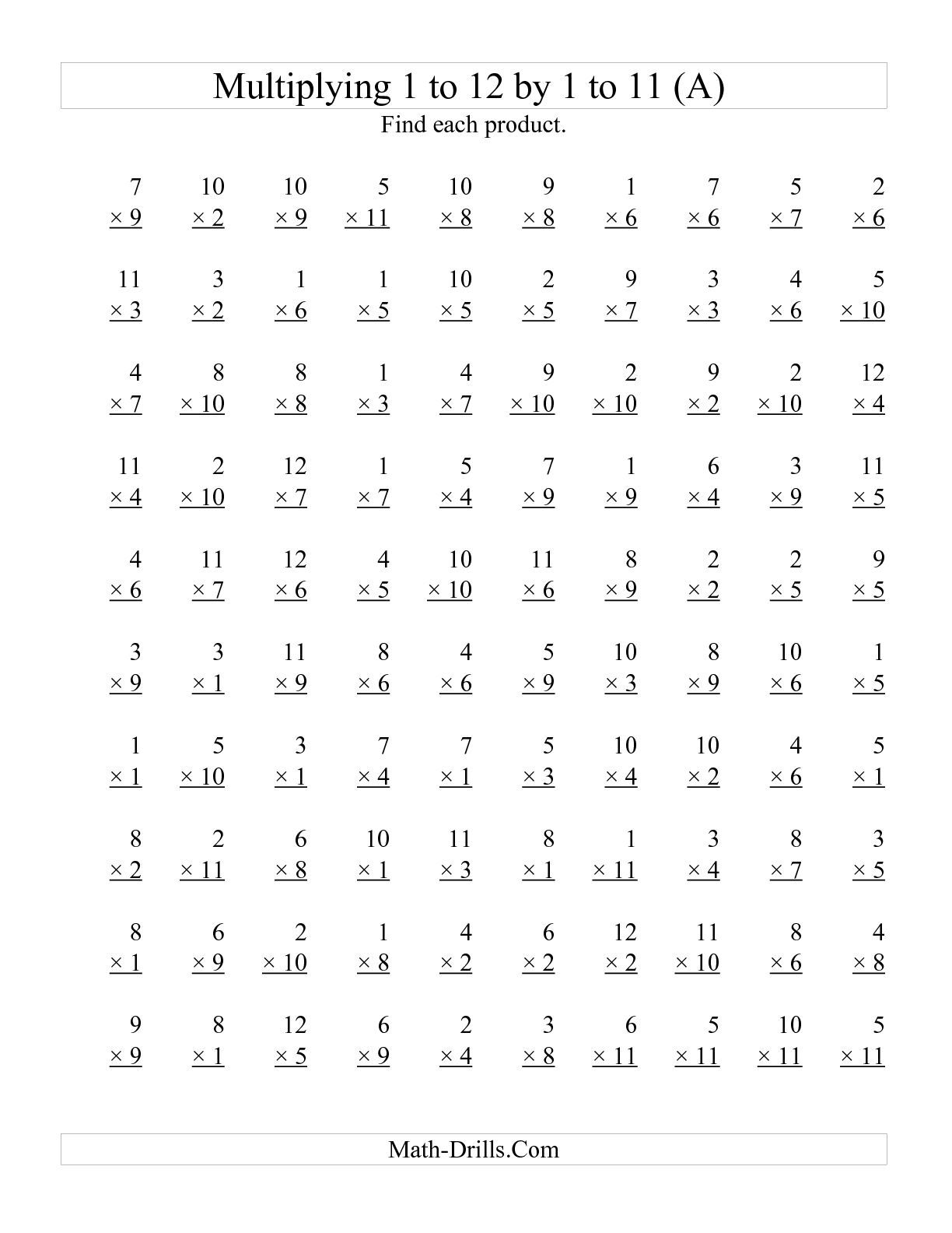 {The 100 Vertical Questions Multiplying 1 to 12 by 1 to 11 A – Multiplication 1-12 Worksheets