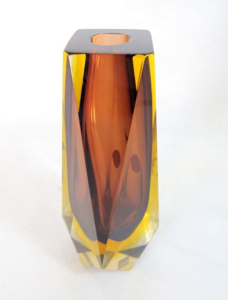 Modernist Murano Sommerso Mandruzzato Faceted Brown