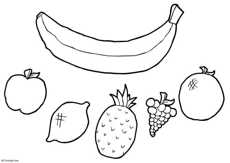 Karışık Meyveler Okul öncesi Boyama Etkinliği Boyama Sayfasi