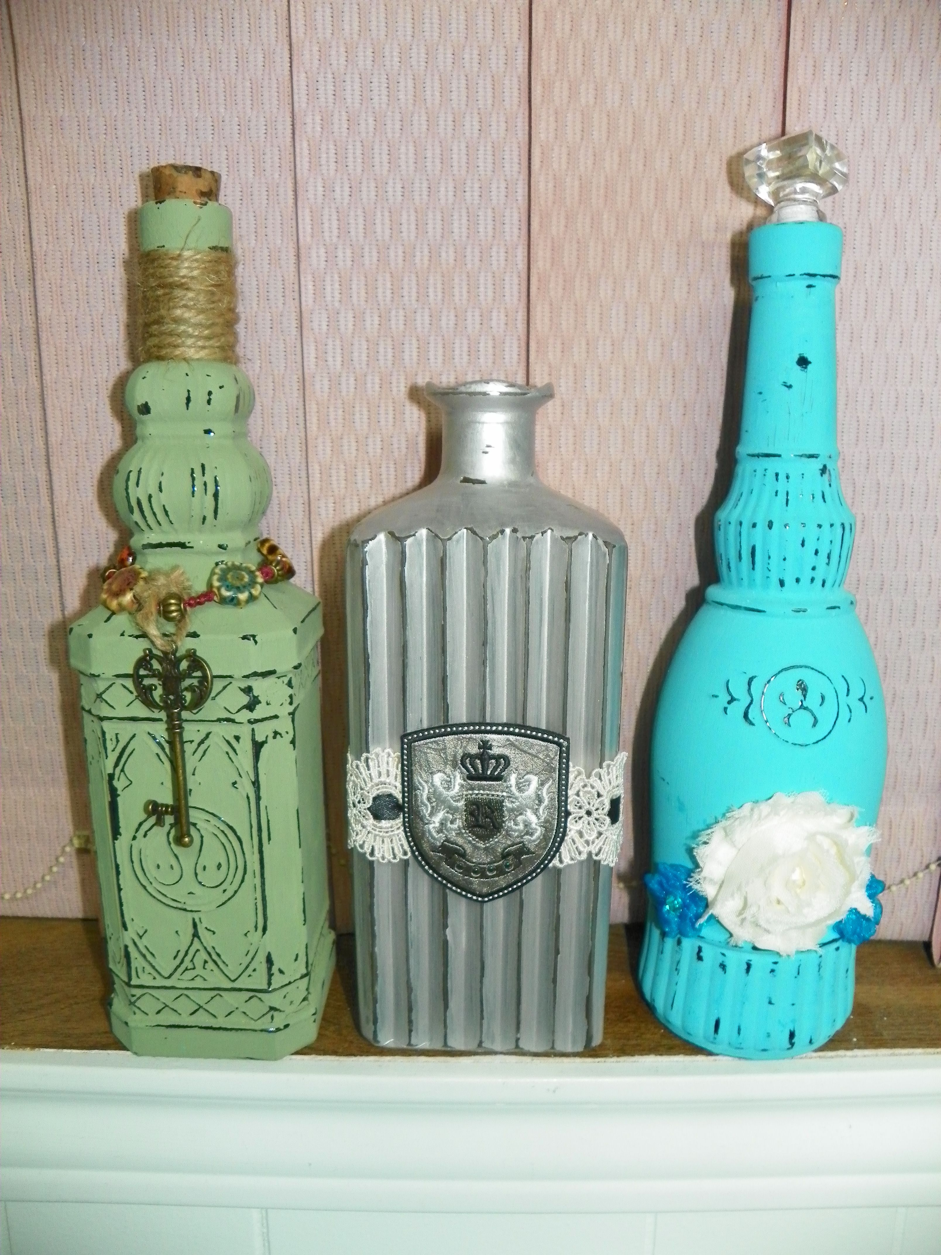 painted glass bottles with chalk paint then embellished bottles with ridges work best to give. Black Bedroom Furniture Sets. Home Design Ideas