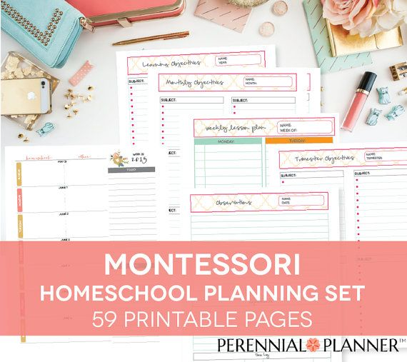 Montessori Homeschool Printable Lesson Plan Weekly Calendar
