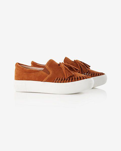 j slides tassel leather sneaker