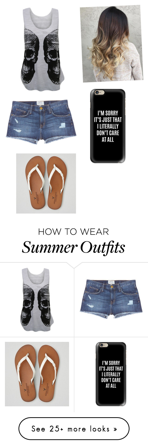 """""""Summer outfit#2"""" by alyssaneitz on Polyvore featuring WearAll, Current/Elliott, American Eagle Outfitters and Casetify"""