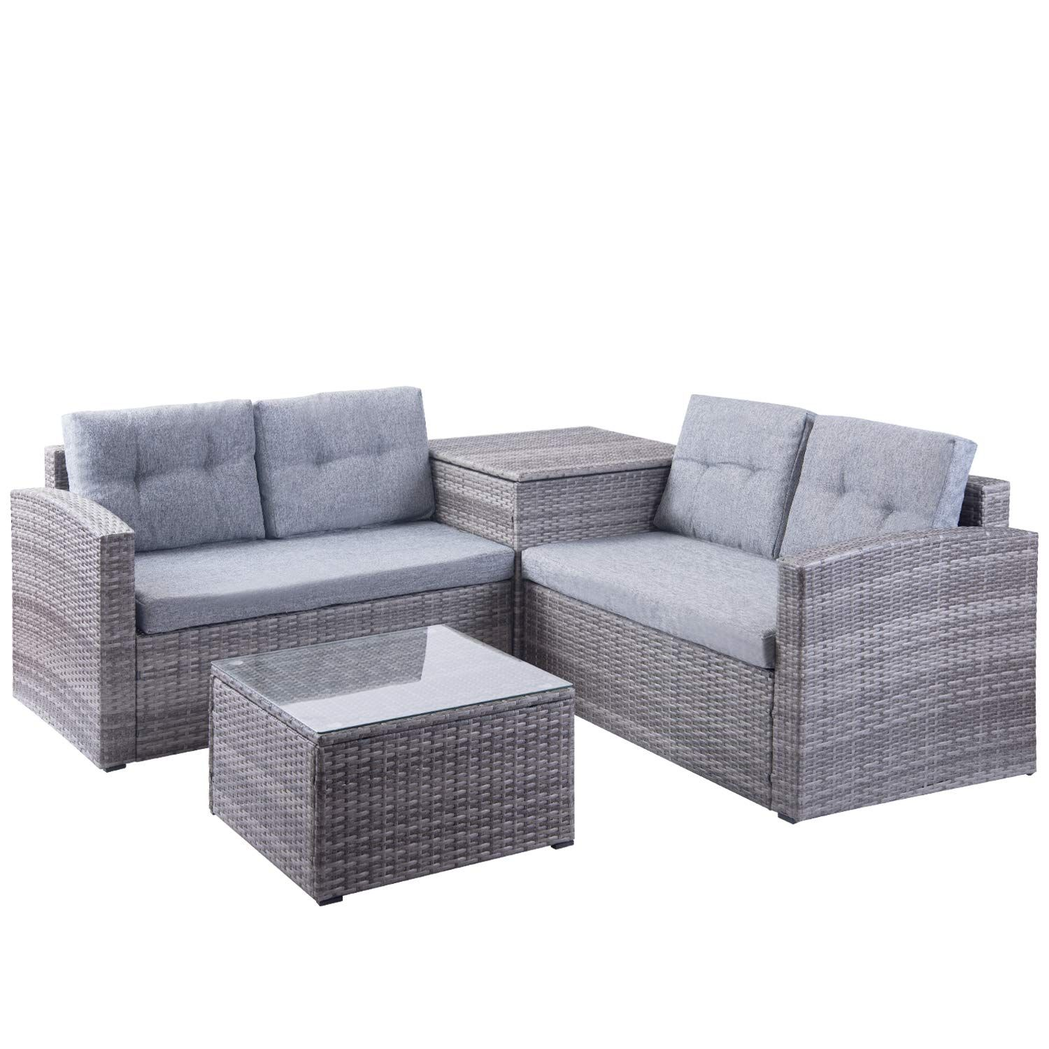 Leisure Zone Patio Furniture Set 3 Piece Pe Rattan Wicker Chairs Grey Cushion With Coffee Tabl Outdoor Furniture Sofa Wicker Sofa Outdoor Outdoor Storage Boxes