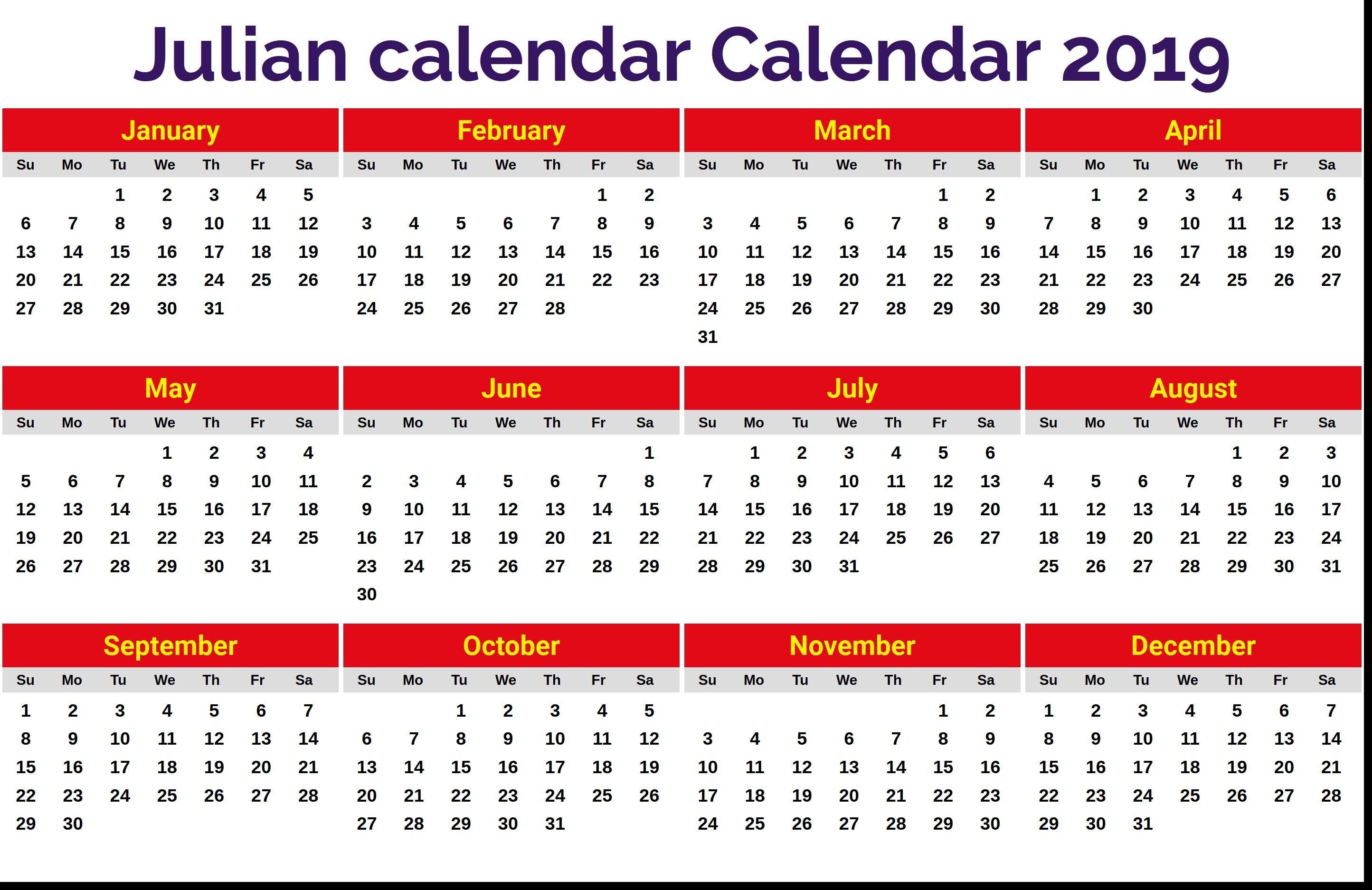 New 2019 Julian Date Calendar Printable Printable Monthly Calendar Get Calendar Printables Calendar Template Monthly Calendar Printable