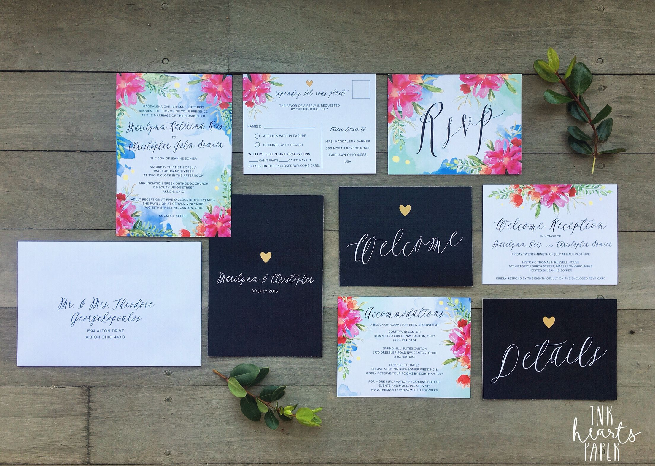 wedding invitations map%0A Wedding engagement invitation stationery simple modern classy professional  calligraphy bright floral watercolor watercolour tropical island Hawaii